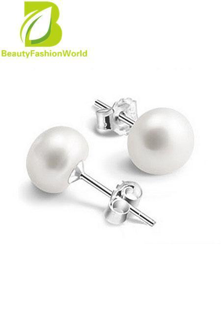 925 Sterling Silver White Pearl Ear Stud Charm Earrings Women Lady Girl