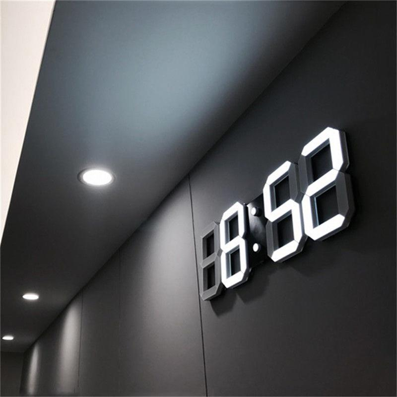 3d Led Wall Clock Modern Digital Alarm Clocks Display Home Kitchen Office Table Desk Night Wall Watch 24 Or 12 Hour Display By Mrk.