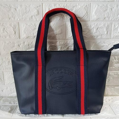 Authentic Women s Classic Coated Pique PVC Leather Tote Bag - Navy Blue a3688db32a