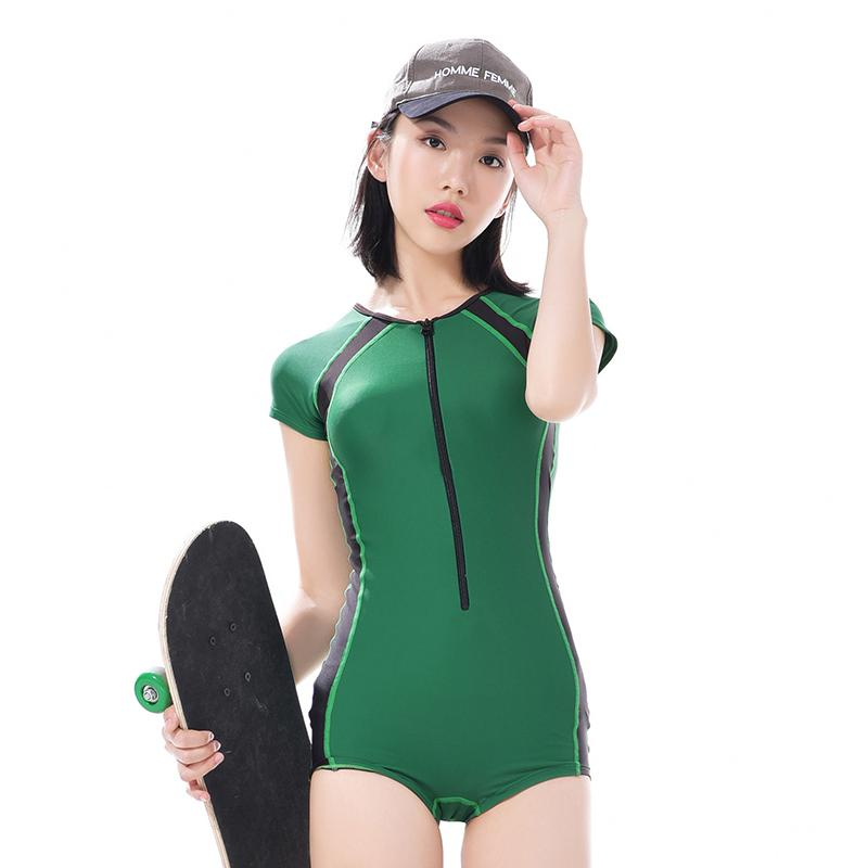 6e5062275c5d1 Special Leaves Product Profession Large Size Students Bathing Suit women  Joined Bodies xiao ping jiao Athletic