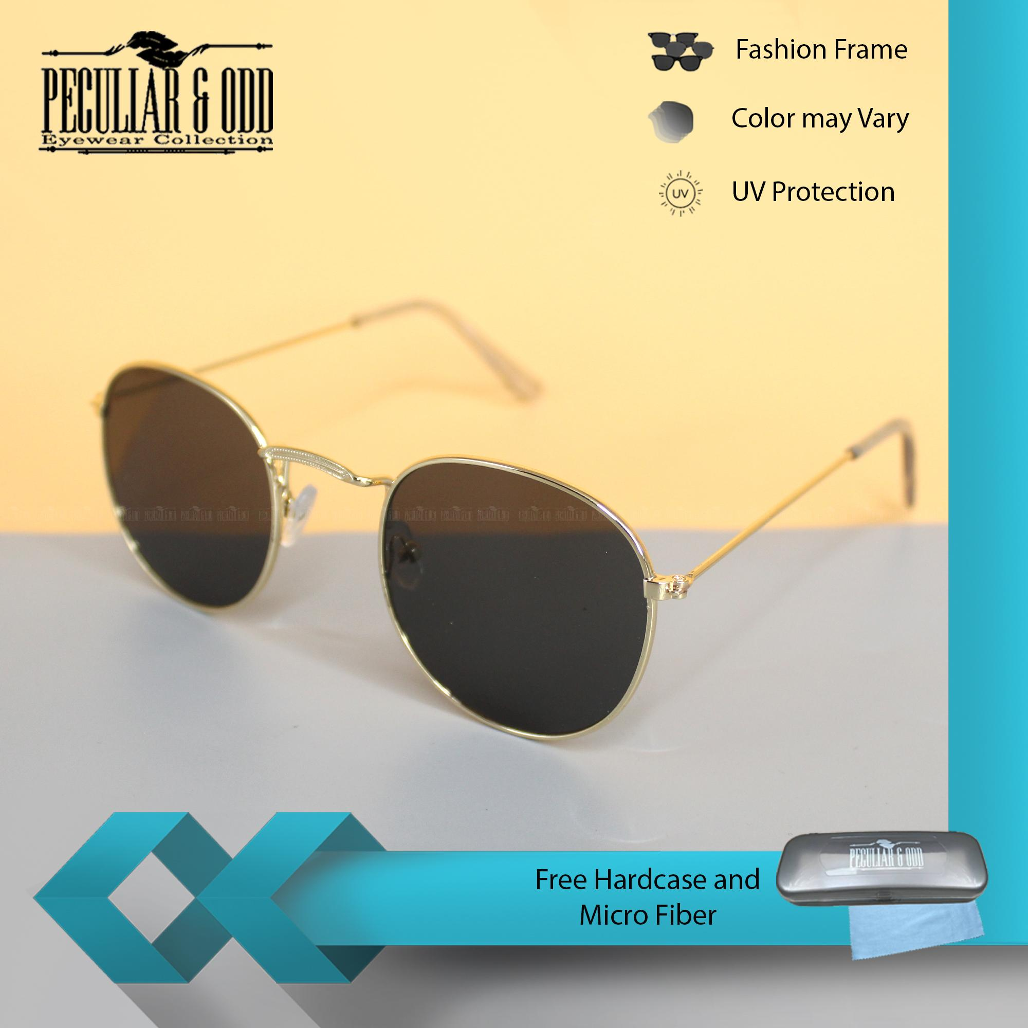 6017f91603 Peculiar Round 3447 GoldBlack in Gold Frame and Black Flash Lens Sunglasses  in Lightweight Metallic Frame Unisex