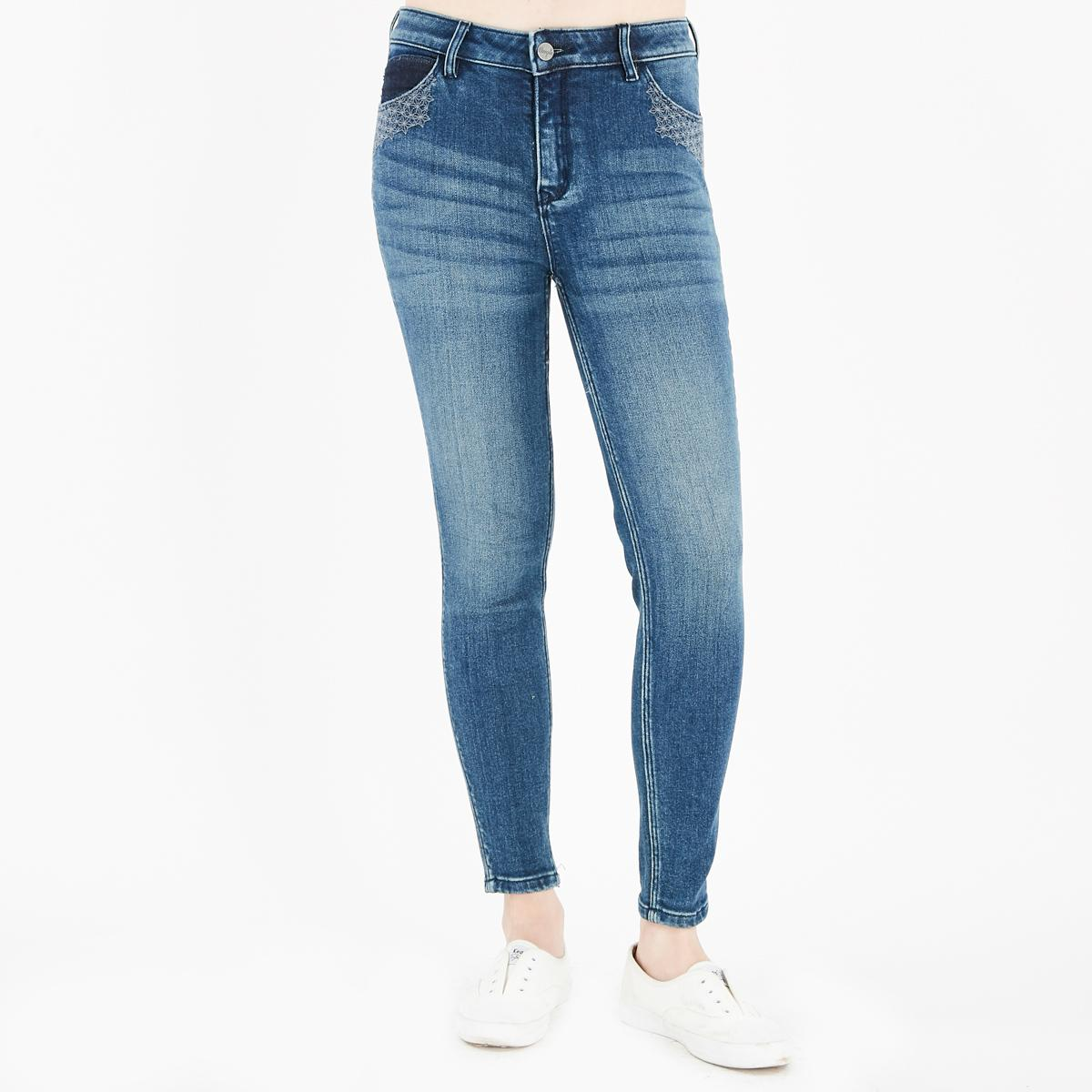 4657419c Wrangler Basic Five Pocket High Rise Skinny Ankle Jeans in Medium Wash with  Sacshiko Embroidery