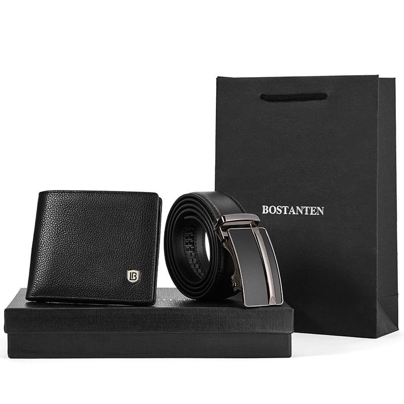 Men/'s Matching Black or Brown Leather Belt /& Wallet Gift Set Box