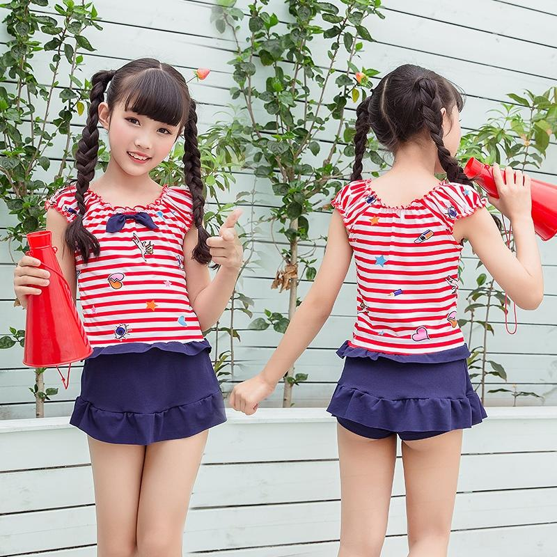 b6877624b1746 2018 New Style Children Split Type Bikini Girls Little Princess Korean  Style Beach Bathing Suit Stripes