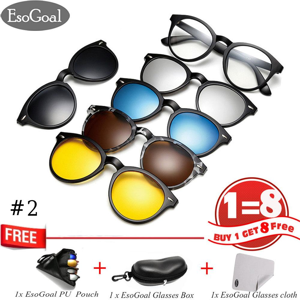 e2860c4410 EsoGoal Magnetic Sunglasses Clip On Glasses Unisex Polarized Lenses Retro  Frame with Set of 5 lenses