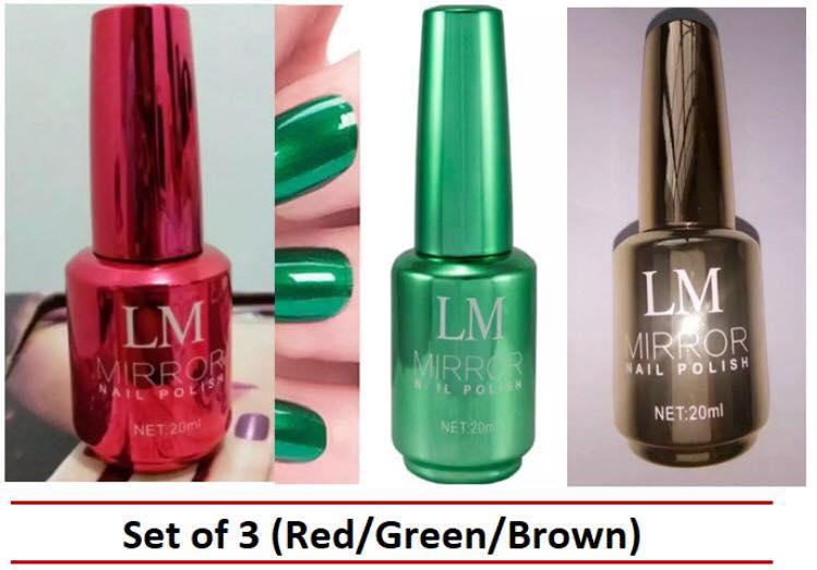 LM Mirror Nail Polish, Set of 3 (Red/Green/Brown) Philippines