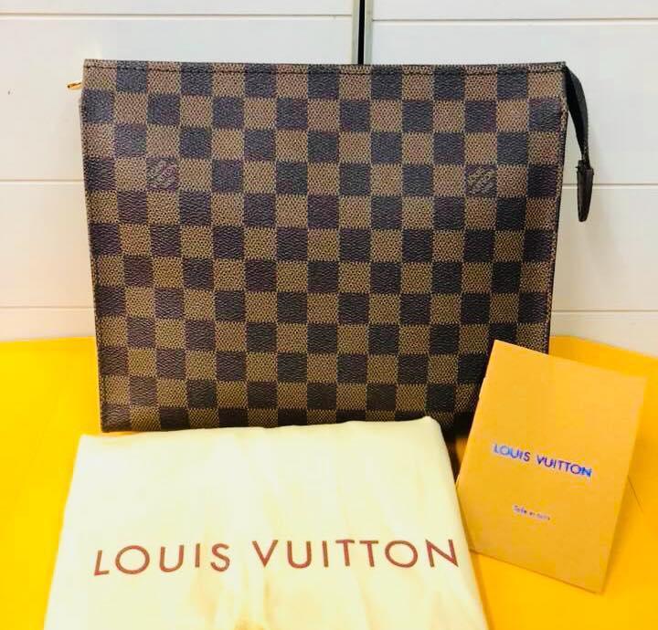 88d4aed2ab55 Authentic Quality Louis Vuitton Damier Ebene Pouch LV Clutch Bag Pochette  Bag Hand Bag Unisex Bags
