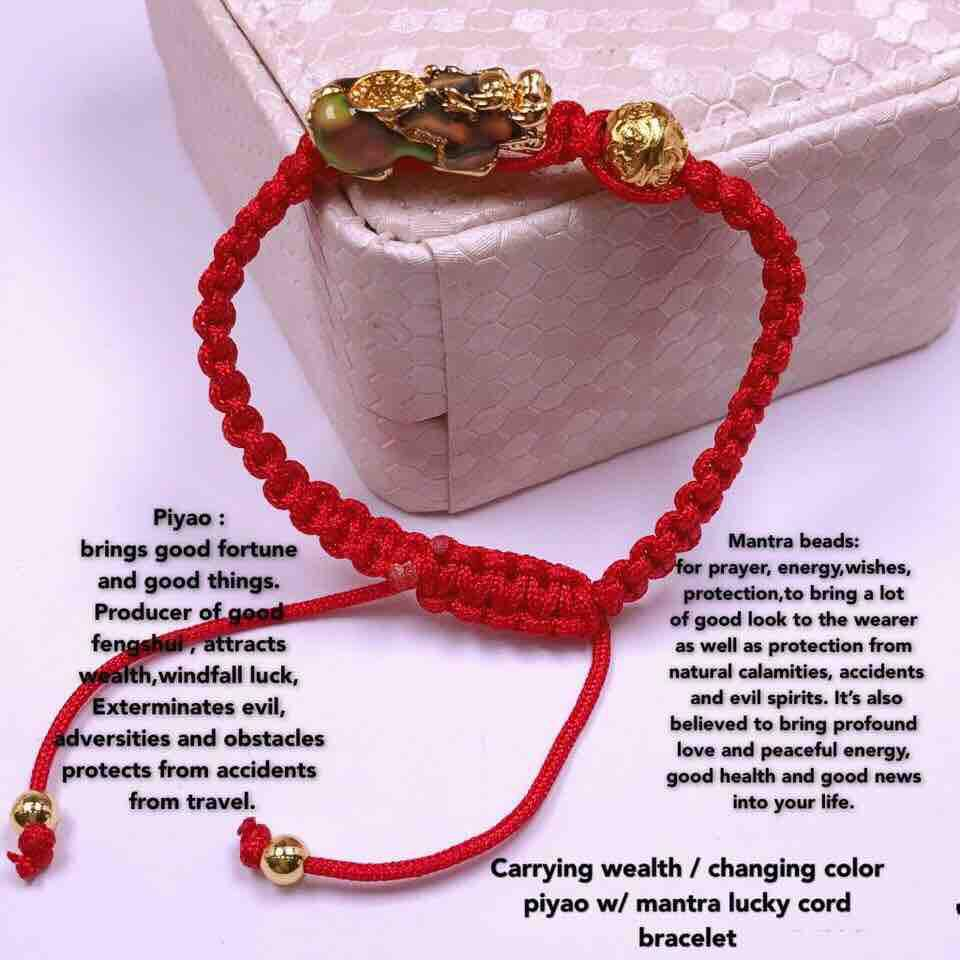 color changing double money piyao w/money coin and mantra lucky red