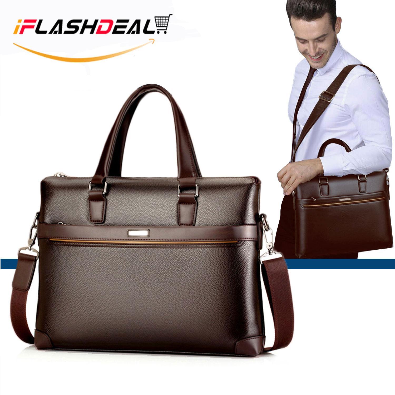 iFlashDeal Men Business Bag Briefcase PU Leather Shoulder Bag Laptop Bag  Messenger Sling Bags