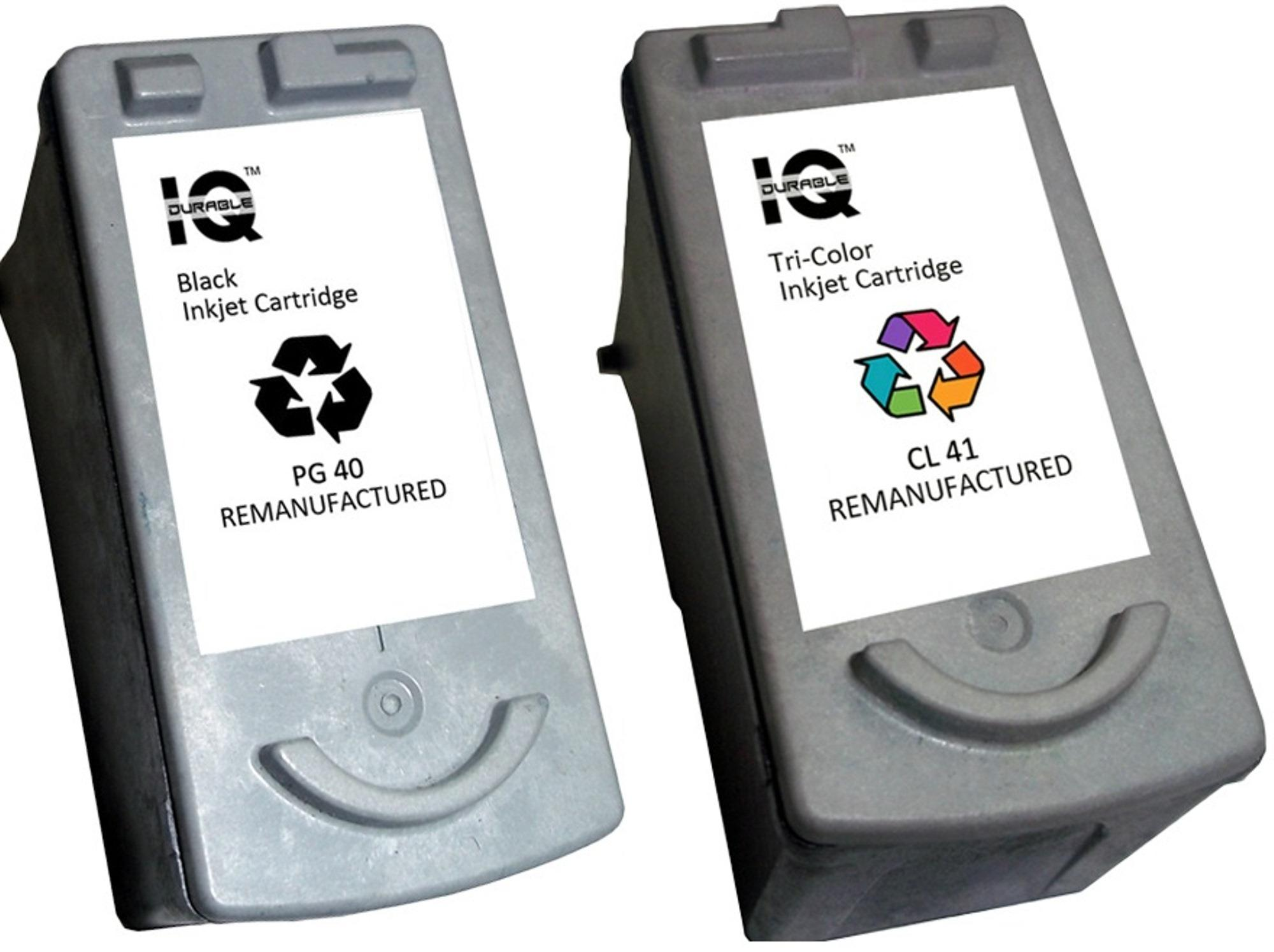 Remanufactured Canon Pg-40 (black) With Canon Cl-41 (tri-Color) Ink Cartridge By Iq Durable.