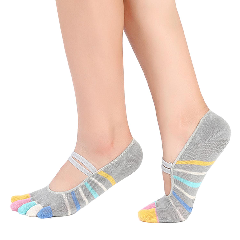 2 Pairs Women Ladies Yoga Pilates Socks 5 Toes Low Cut Non Slip Grip Socks  for Ballet Dance Fitness Exercise Sport - intl