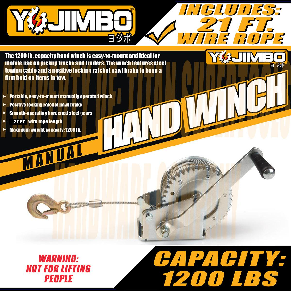 Yojimbo YJ-HW10M 1200 Lb  Manual Hand Winch