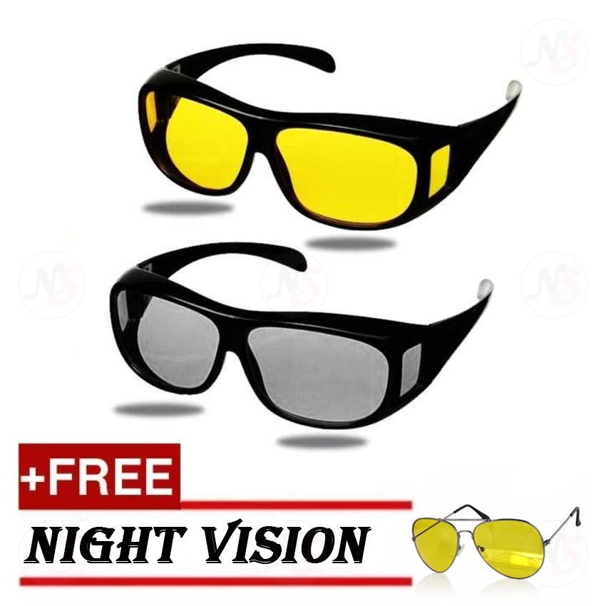 fef54670cd4 2pcs. HD Vision Anti Glare Night View Driving Glasses Wrap Around Sunglasses  (Black