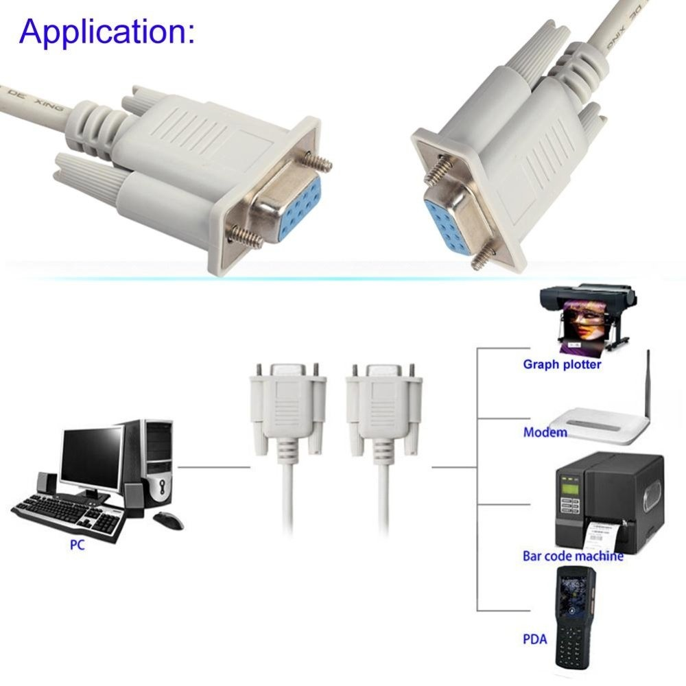RS232 DB9 9 Pin Male to Female Serial Port Cable Industrial Adapter 1.3M AD