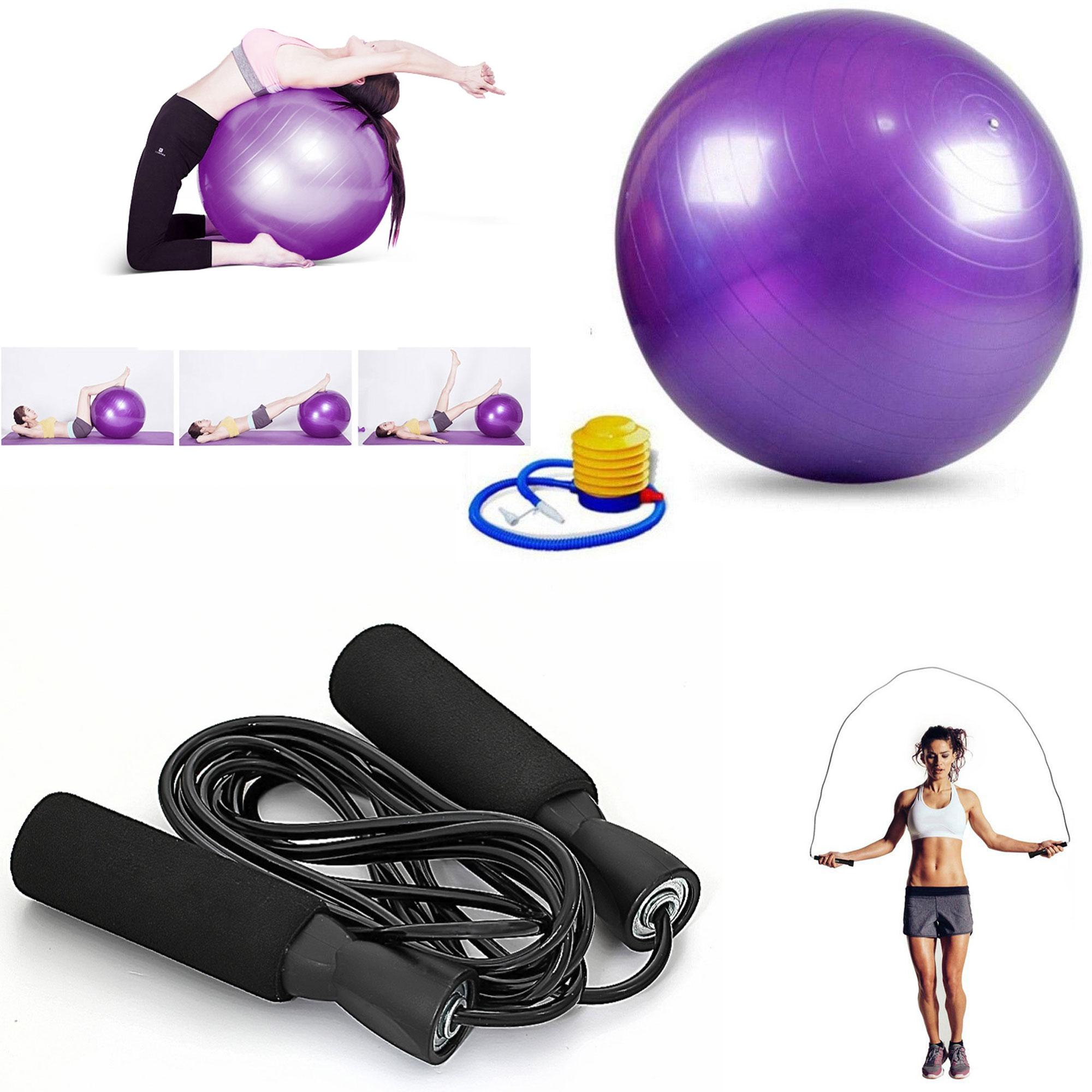 Gym Ball (purple) With Exercise Tool Boxing Skipping Jump Rope Adjustable Bearing Speed Fitness (black) By Gonzalez General Merchandise.