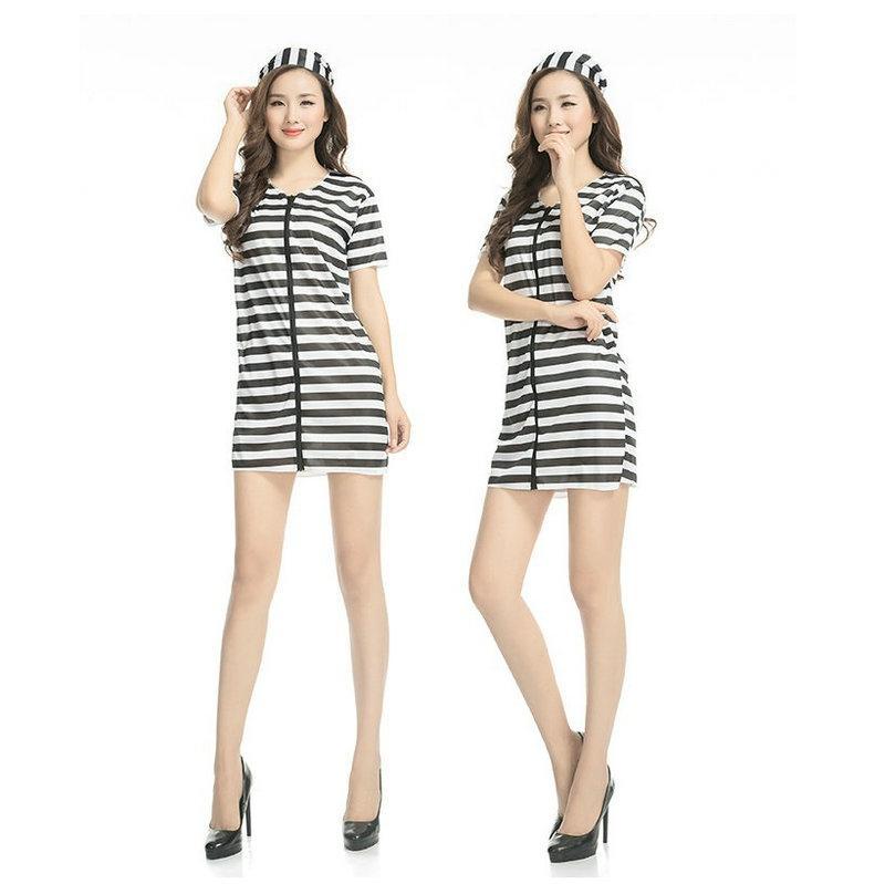 0045ebef3974 BLACK WHITE CLASSIC Stripes Women Service Prisoners Clothing Theme M·PARTY  Uniform CHARM Evening Show DS