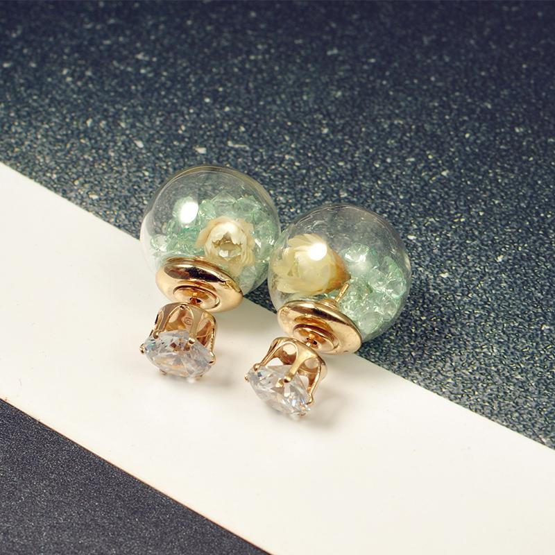 60394c7cf Wishing Star Transparent Glass Ball Front And Back Size-Crystal Versatile  Fashion Parts Earring Ear