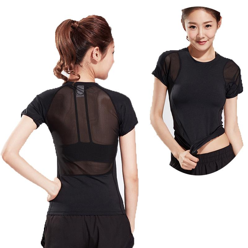 quality women short sleeves T-shirts sports yoga clothing quick dry slim fitness running training
