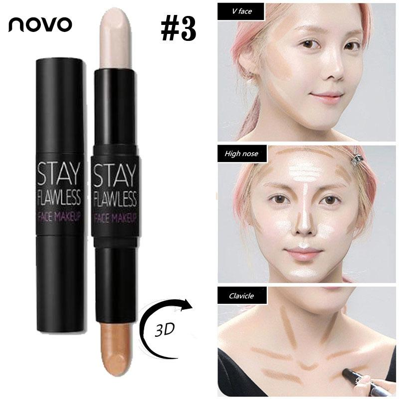 Novo 2 In 1 Matte Bronzer & Highlighter Stick Face Contour Makeup Flawless Highlighter Powder Highlight and Shading Concealer Philippines