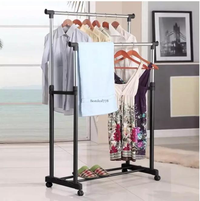 Double Rolling Rail Adjule Portable Clothes Garment Rack Hanger