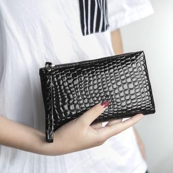 AMOG Luxury Fashion Crocodile Leather Clutch Handbag Bag Coin Purse Wallet Phone Card Holder