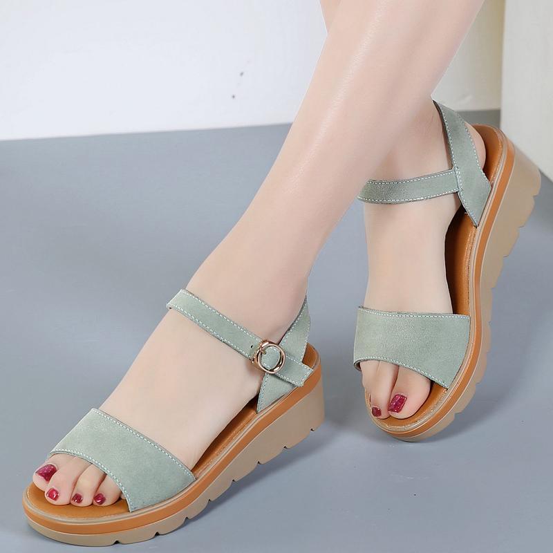b8dc199b0e3 Sandals women Summer New Style Versatile Schick Slanted Heel Thick Bottomed  Semi-high Heeled Summer