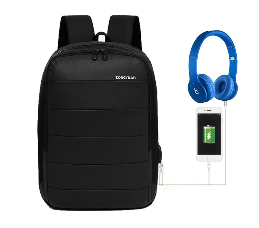 Abby Shi 1020 Backpack leisure fashion college students computer with USB  Charging   headphone port bag 6bba44b405
