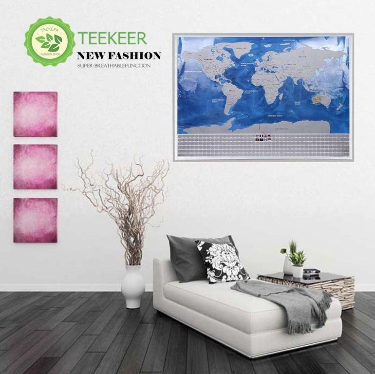 Teekeer 29.9 X 18.8 Inches Track Your Adventures Scratch Off World Map Poster For Travelers Wall