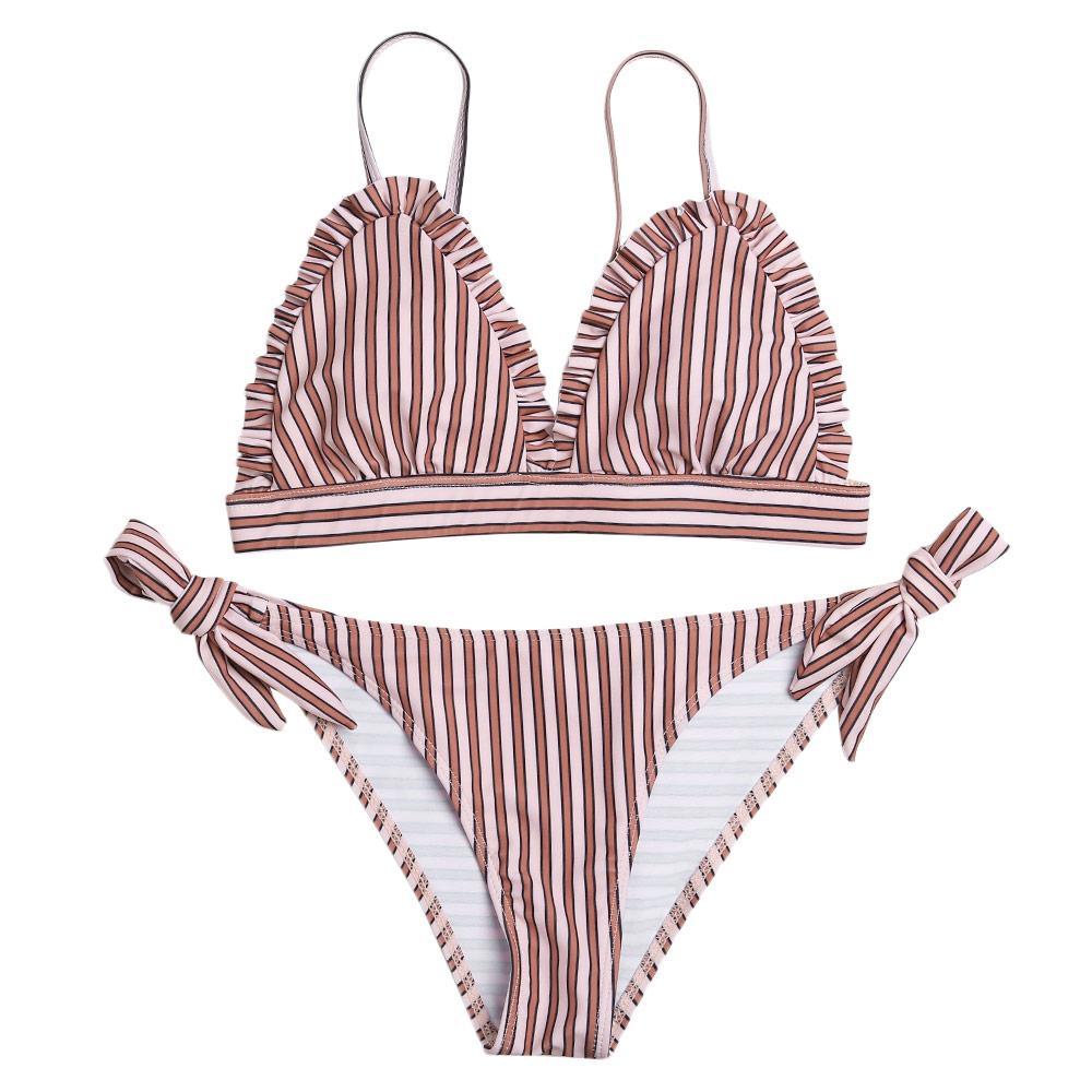 0ffa818120ca7 Sexy Spaghetti Strap Padded Stripe Ruffle Low Waist Women Bikini Set