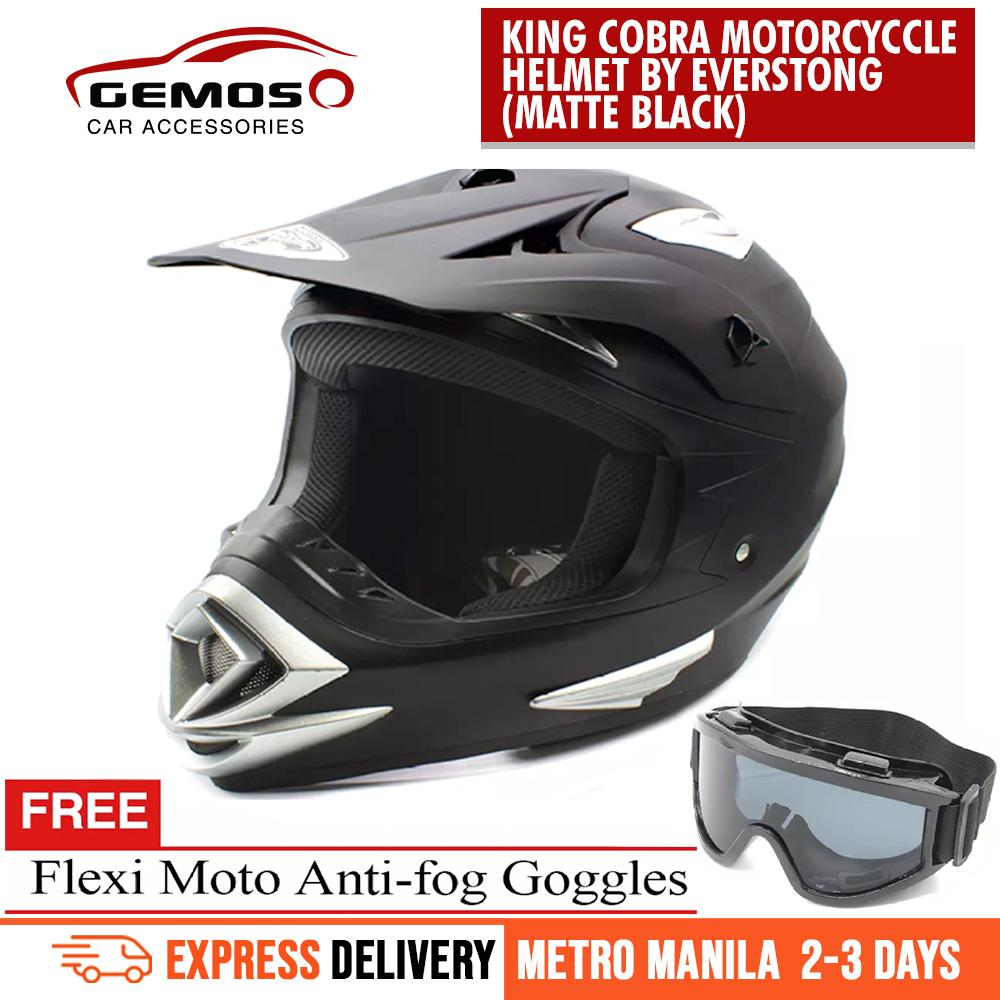 8a314c8803bc KING COBRA Motocross Motorcycle Helmet(Matte Black) With FlexiMoto Glasses