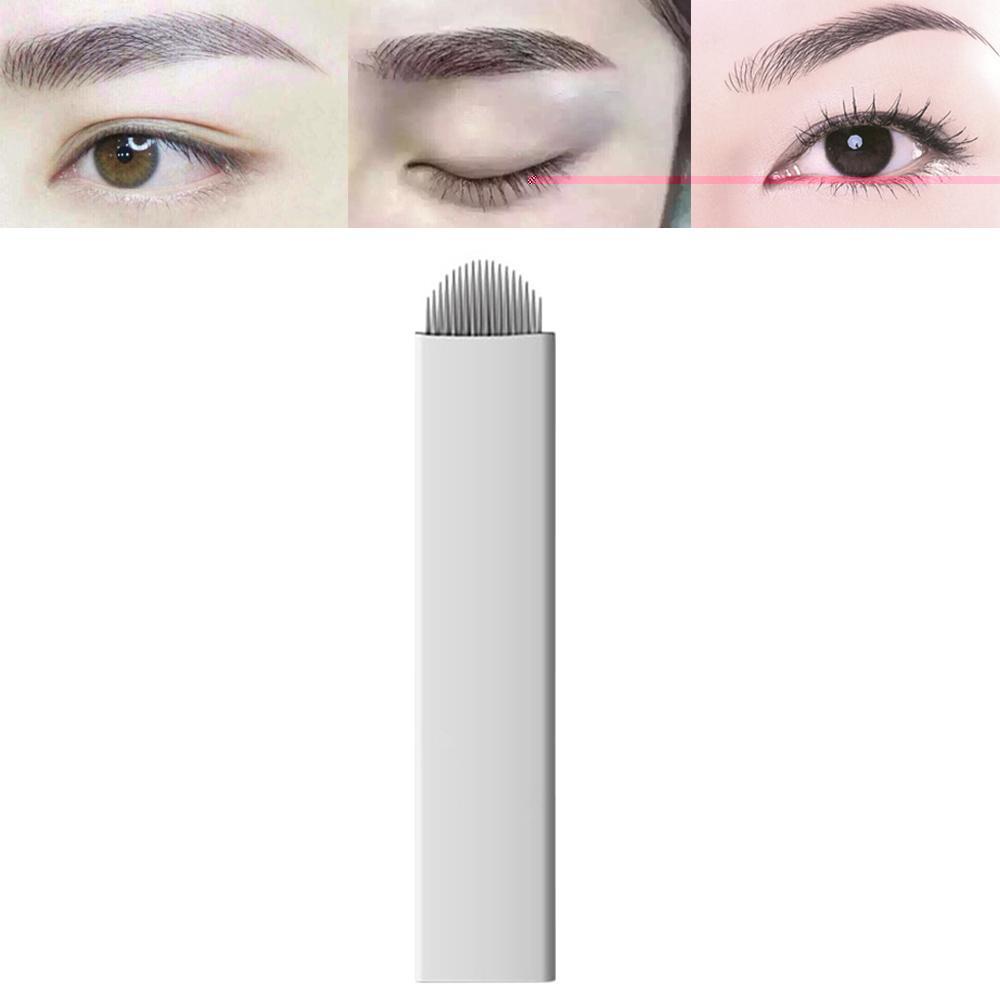 50pcs Permanent Makeup Manual Eyebrow Tattoo Needle Microblading Microblade White Arc Blade 18 Needles - intl