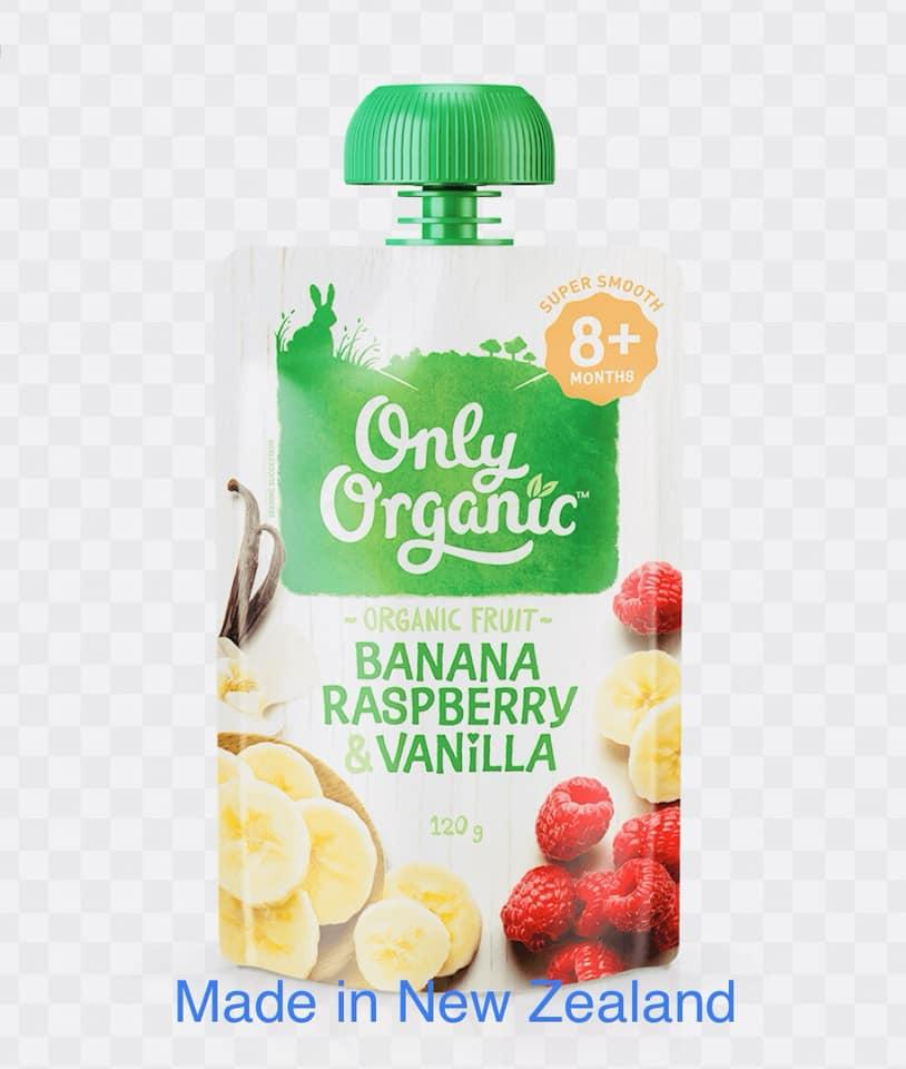 Only Organic Banana Raspberry And Vanilla Organic Baby Food ( 8 Month + ) By Ozs Best Goodies Merchandise.