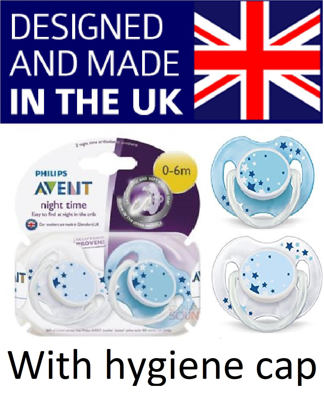 2 Philips Avent Glow In The Dark Pacifier / Soother / Dummy Night Time Blue Stars Design - Made In Uk With Snap On Cap. 0-6m By Imaginarium.