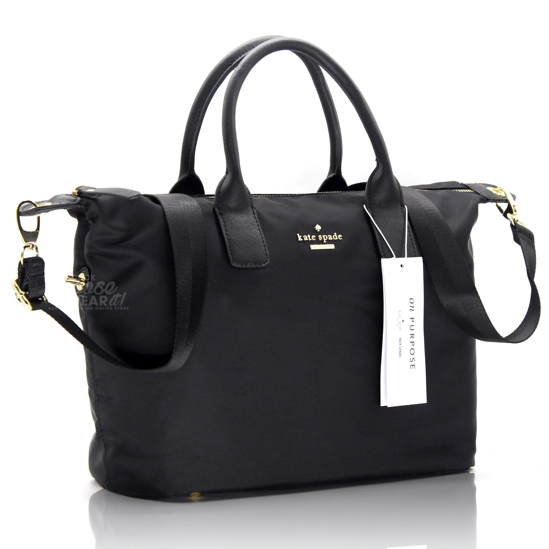 Authentic Kate Spade Classic Weekender Bag Lyla Nylon Tote Black