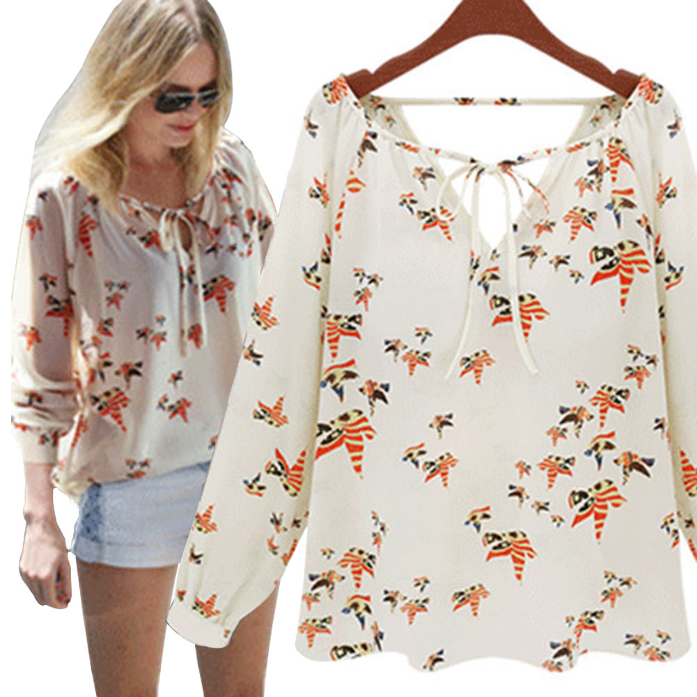 7a0c188e1be918 YBC Women V-neck Floral Chiffon Blouse Long Sleeve Loose Shirts ...