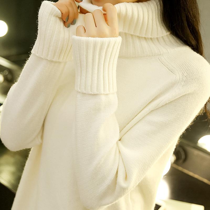 eebd059bde1 High Collar Sweater women Autumn And Winter New Style 2019 Korean Style  Loose Pullover Students Underwear Long Sleeve Knit Low Waist Jersey  Versatile