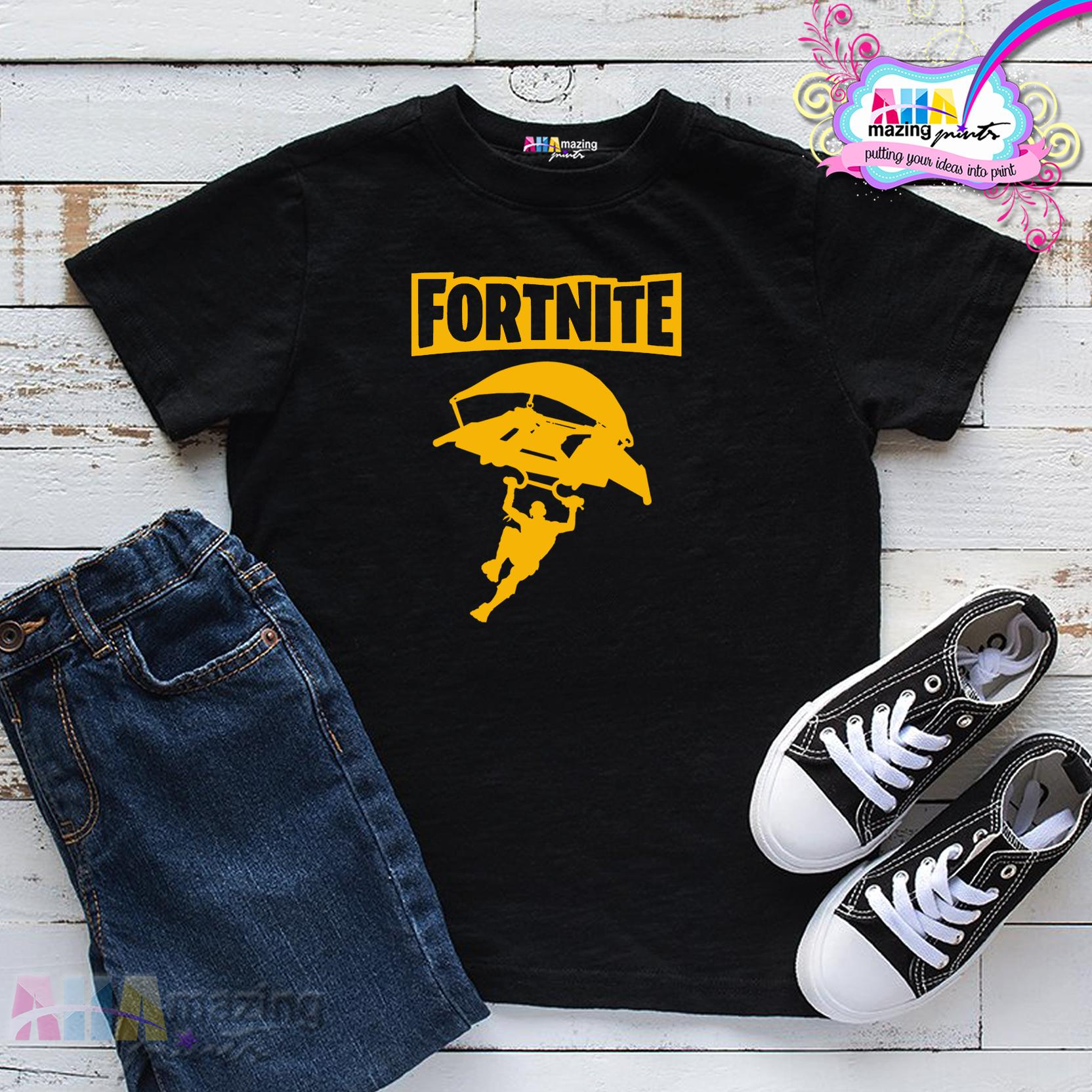 9c54c398 AHAmazing Prints KIDS SHIRT ❤ FORTNITE PARACHUTE for Little Boy ❤ Kids  Fashion Top Boys Little