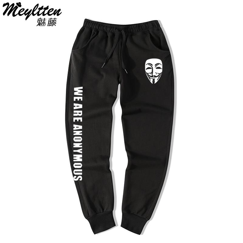 Hacker Organization Anonymous Printed Sports Casual Pants Men And Women Skinny Sweatpants Ankle Banded Pants Students