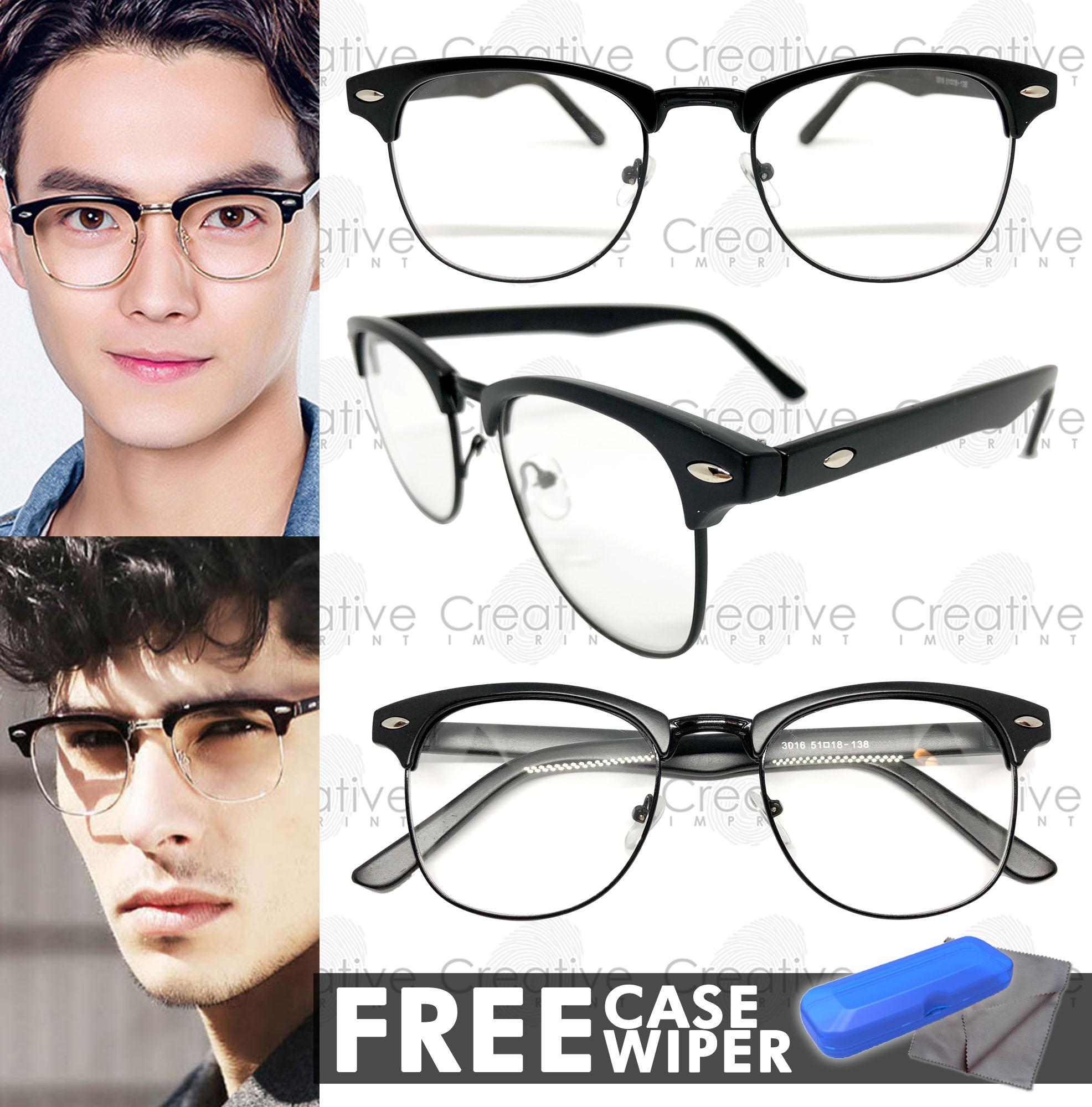 1afc106ca46 Creative Imprint Eyeglasses Replaceable Lens Clubmaster  01 Premium High  Quality Specs Metal Korean Style Computer