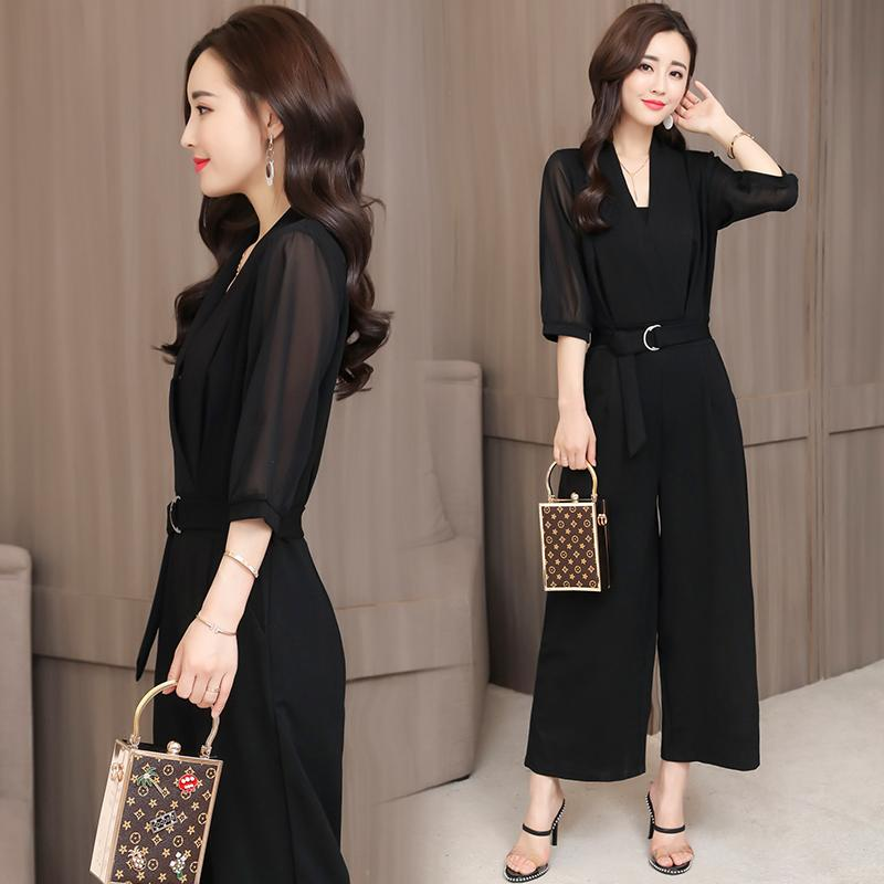 e5c221d51ee 2018 Spring And Summer New Style High-waisted Chiffon Romper Black Sleeve  Slim Fit Slimming