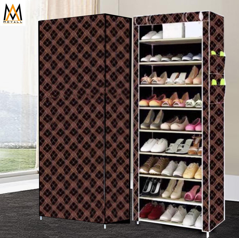 add86e1edcf 10 Layer 9 Grid Shoe Rack Storage Cabinet Cover Pockets (Black Gold)
