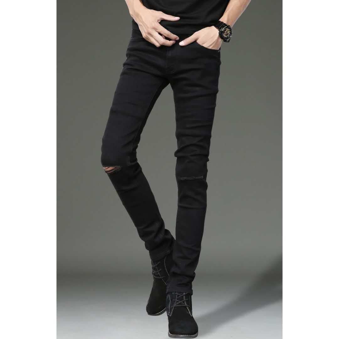 88e9f94b47f 99702 black jeans for men good quality fashion denim knee cut