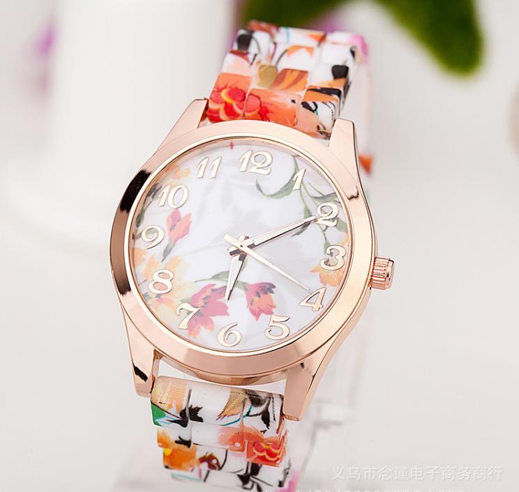 Hot Fashion Women Dress Watch Silicone Printed Flower Causal Quartz Wristwatches