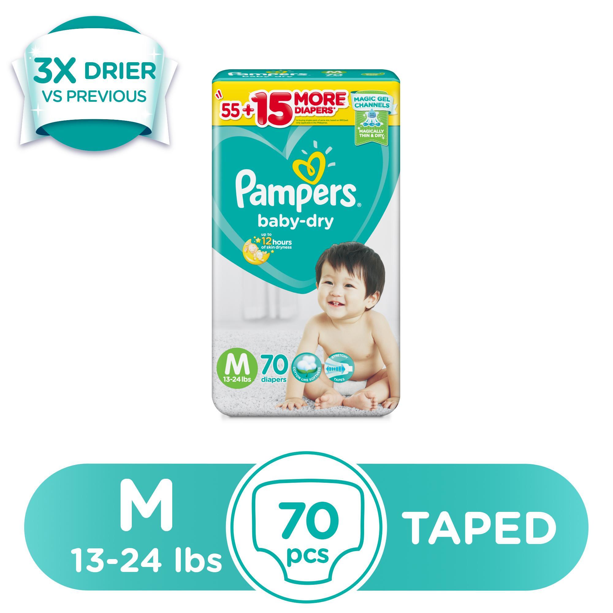 Pampers Baby Dry Medium (13-24 lbs) - 70 pcs x 1 pack