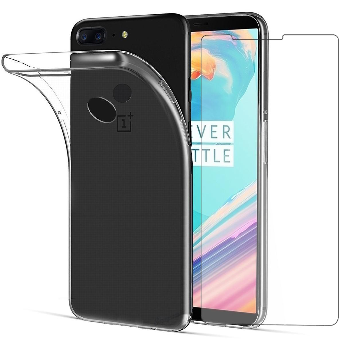 PHP 215. Rymall For OnePlus 5T Case Ultra Slim Clear Soft TPU Silicone Cover Transparent Casing + Clear Protective Film Tempered Glass Screen ...