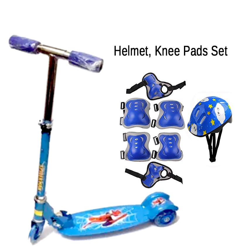 Blue - New Scooter Sturdy Lightweight Height Kick Scooters Adjustable Aluminum Alloy T-Style Foldable Adults Foot Scooters 3wheel By Elena Accessories.