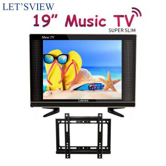 Letsview 19 Slim LED Music TV (Black)  With S-27 Fixed Monitor/TV Wall Mount Bracket for 14-42 Televisions (Black)