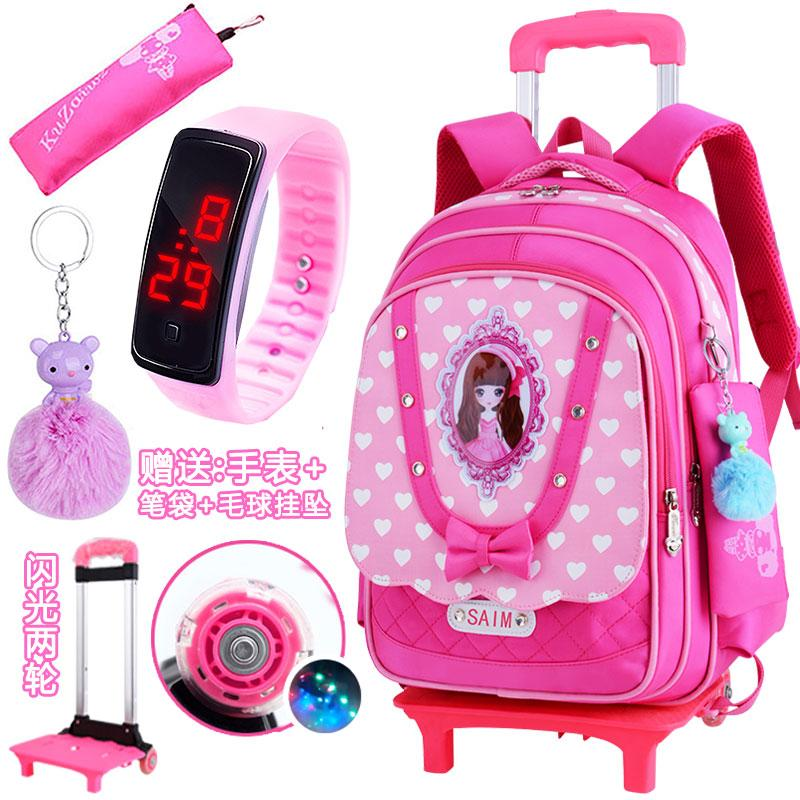 Children Three Rounds Trolley bag bags Young Student s girl women 2-5 Grade  6- d175bb9af327b