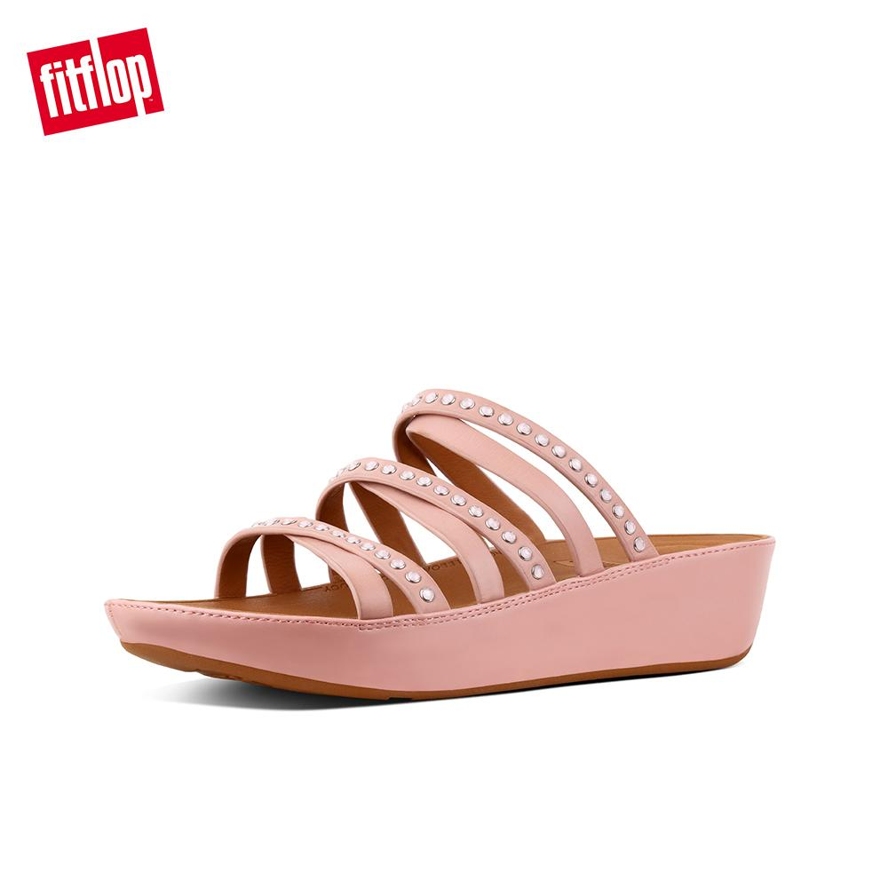 b7a6771e4a371 Fitflop Women's Sandals K43 LINNY SLIDE SANDALS - CRYSTAL LEATHER DRESS  lightweight comfort fashion New