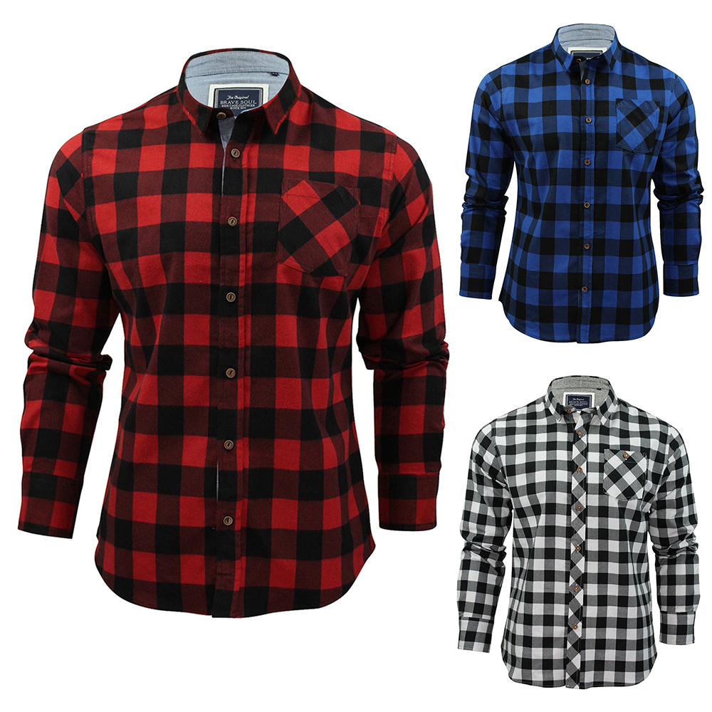 YUNY Mens Classic Plaid Long Sleeve Turn-Down Collar Casual Flannel Shirts Red M
